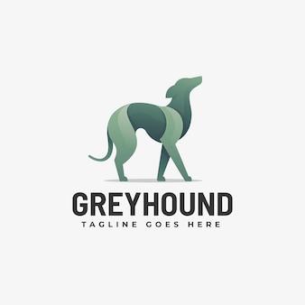 Ilustración de logotipo estilo colorido degradado de grey hound.