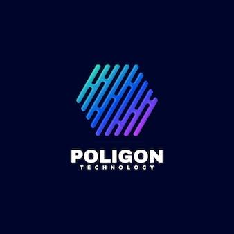 Ilustración de logotipo estilo colorido degradado hexagonal
