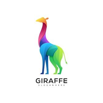 Ilustración de logotipo estilo colorido degradado de jirafa