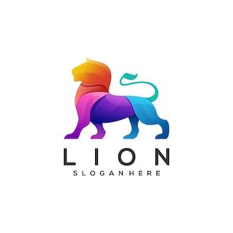 Ilustración de logotipo estilo colorido degradado de león.