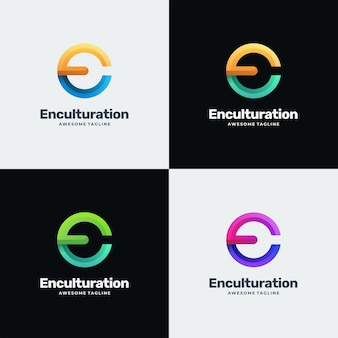 Ilustración de logotipo estilo colorido degradado de letra.