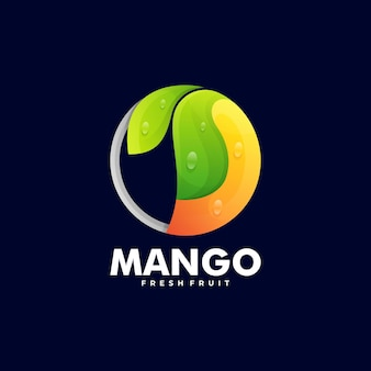 Ilustración de logotipo estilo colorido degradado de mango.