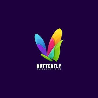 Ilustración de logotipo estilo colorido degradado de mariposa.
