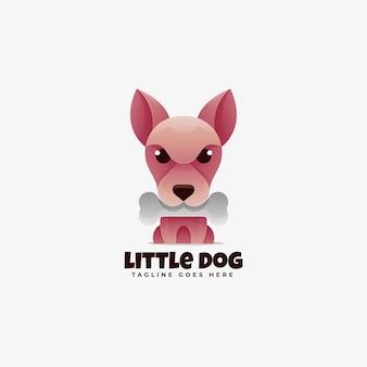 Ilustración de logotipo estilo colorido degradado de perro pequeño.