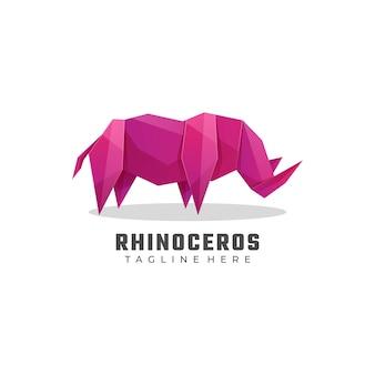 Ilustración de logotipo estilo colorido degradado de rinoceronte.