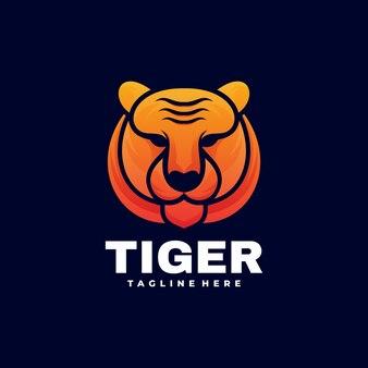 Ilustración de logotipo estilo colorido degradado de tigre.