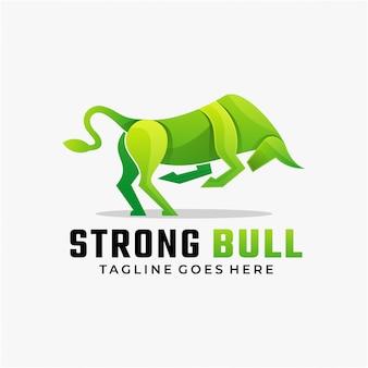 Ilustración de logotipo estilo colorido degradado de toro fuerte.