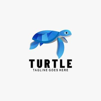 Ilustración de logotipo estilo colorido degradado de tortuga.