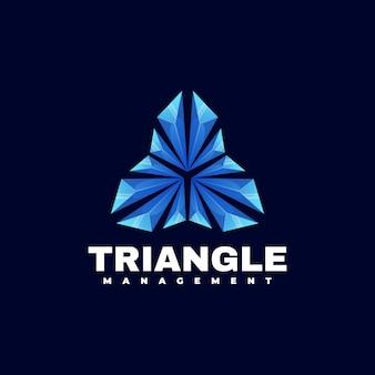 Ilustración de logotipo estilo colorido degradado de triángulo.