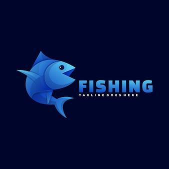 Ilustración de logotipo estilo degradado de pesca colorido.