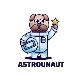 Ilustración de logotipo estilo de dibujos animados de la mascota del astronauta.