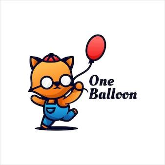 Ilustración de logotipo estilo de dibujos animados de una mascota de globo.