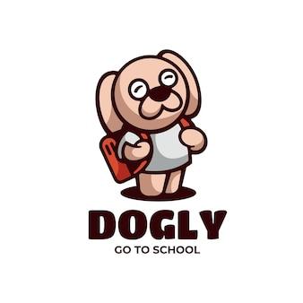 Ilustración de logotipo estilo de dibujos animados de mascota de perro.