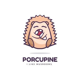Ilustración de logotipo estilo de mascota simple puercoespín.