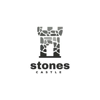 Ilustración logotipo con estilo silueta castillo piedra