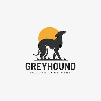Ilustración de logotipo estilo de silueta de perro gris.