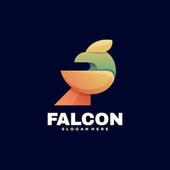Ilustración de logotipo falcon estilo colorido degradado.