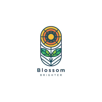 Ilustración de logotipo de flor de línea plana