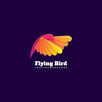 Ilustración de logotipo flying bird estilo colorido degradado.