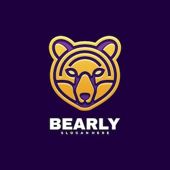 Ilustración de logotipo fox line art estilo degradado.