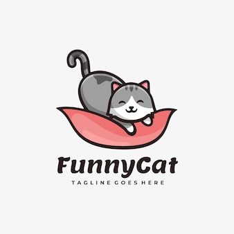 Ilustración de logotipo funny cat simple mascot style.