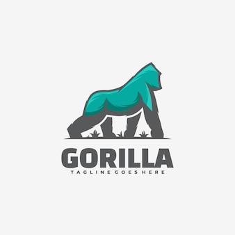 Ilustración del logotipo de gorilla simple mascot style.
