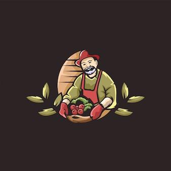 Ilustración de logotipo de granjero