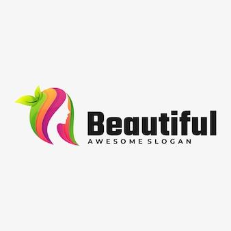 Ilustración de logotipo hermoso estilo colorido degradado.
