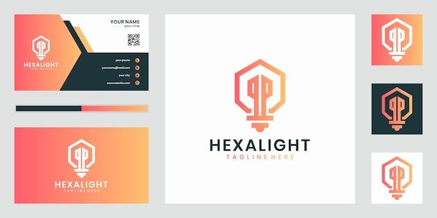 Ilustración de logotipo de hexágono de bombilla de lámpara