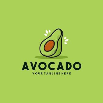 Ilustración de logotipo de icono de fruta de aguacate creativo