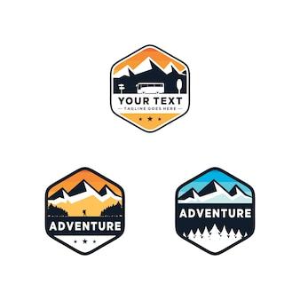 Ilustración de logotipo de insignia de aventura