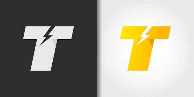 Ilustración de logotipo de letra t eléctrica