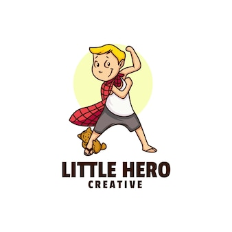 Ilustración de logotipo little head cute cartoon.