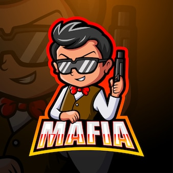 Ilustración de logotipo de mafia mascota esport