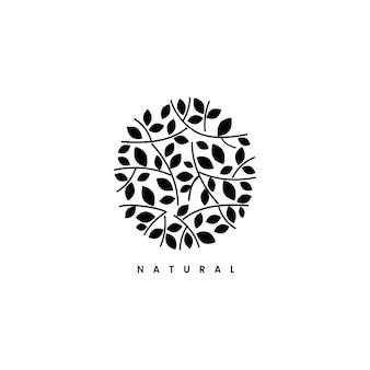 Ilustración de logotipo de marca de hoja natural