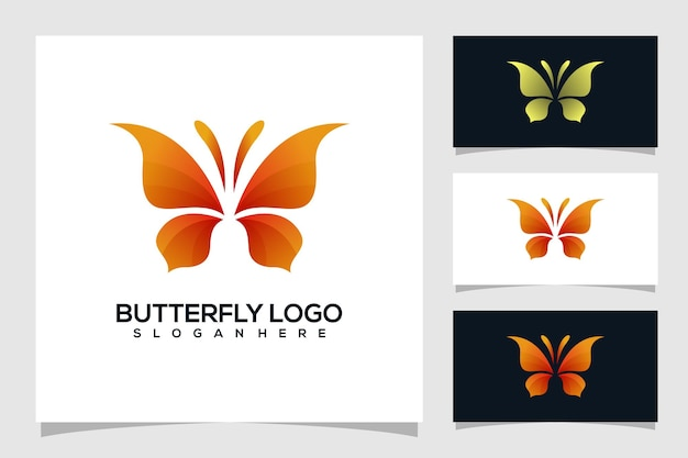 Ilustración de logotipo de mariposa abstracta