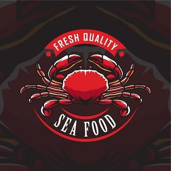 Ilustración de logotipo de mariscos de cangrejo