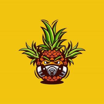 Ilustración de logotipo de máscara de piña