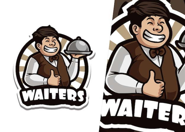 Ilustración del logotipo de la mascota del camarero