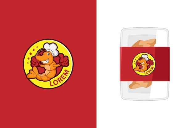 Ilustración del logotipo de la mascota del camarón lindo para productos del mar