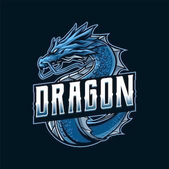 Ilustración del logotipo de la mascota del dragón azul