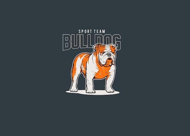 Ilustración del logotipo de la mascota del equipo deportivo bulldog