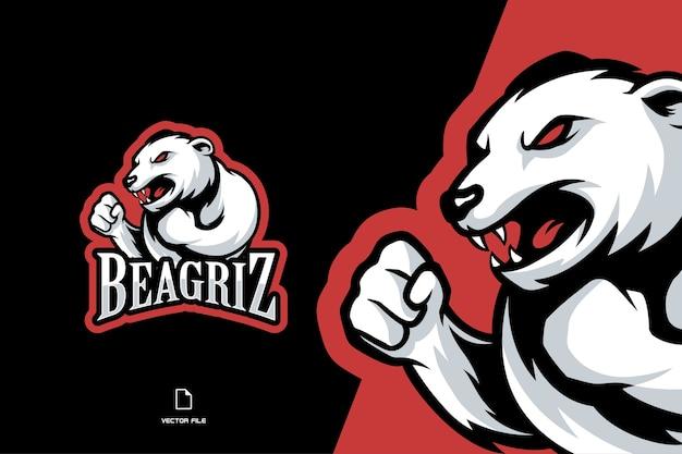 Ilustración del logotipo de la mascota del oso polar blanco enojado