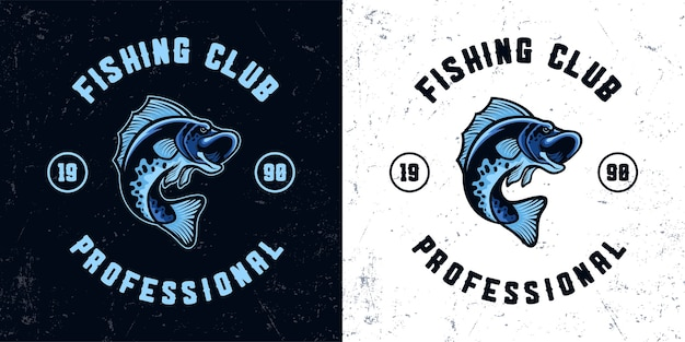 Ilustración de logotipo de mascota de pesca de pescado azul vintage