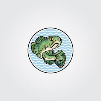 Ilustración del logotipo de la mascota del pez cabeza de serpiente channa
