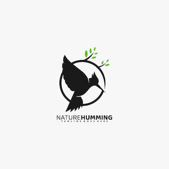 Ilustración de logotipo naturaleza tarareando estilo de silueta.