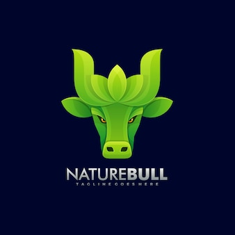 Ilustración de logotipo nature bull estilo colorido degradado.