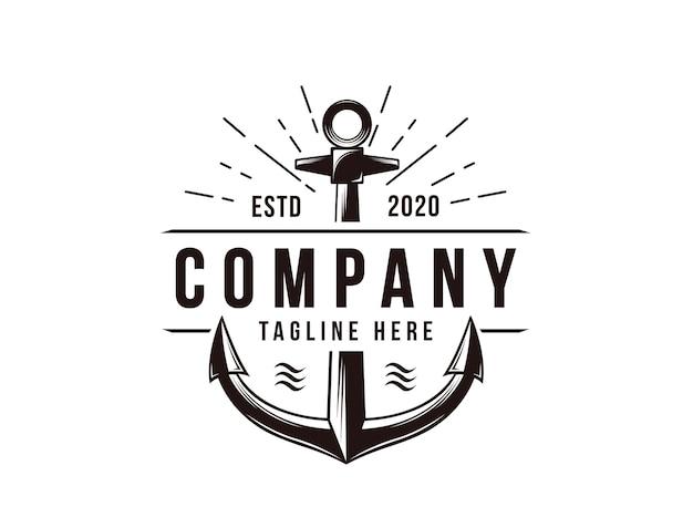 Ilustración de logotipo náutico ancla retro vintage