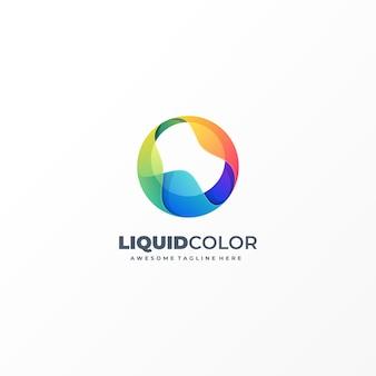 Ilustración logotipo con objetos líquidos abstractos estilo colorido