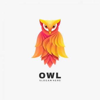 Ilustración del logotipo owl gradient colorful style.